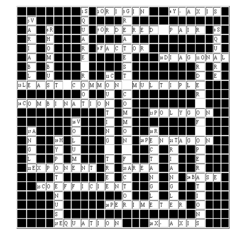 Activity 19 Mathematics Crossword Puzzle